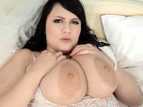 Busty black-haired bride getting fucked