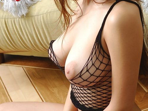 Insanely hot busty brunette hottie in mesh lingerie