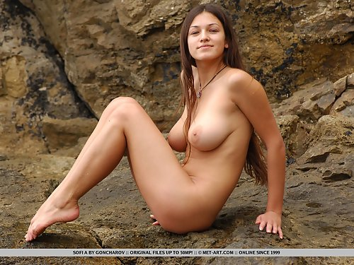 Busty brunette nude in the sea