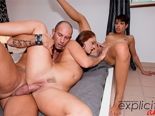 Lucky guy fucks 2 hot girls in the ass
