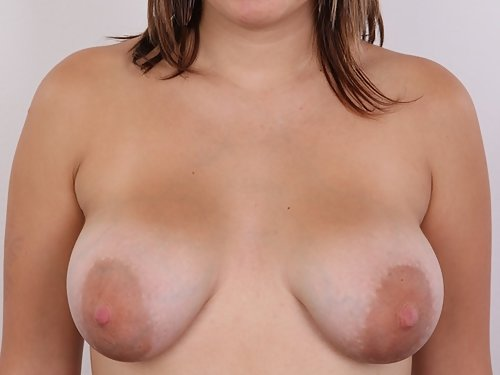 Casting pics of a chubby amateur with huge areolae and tan lines