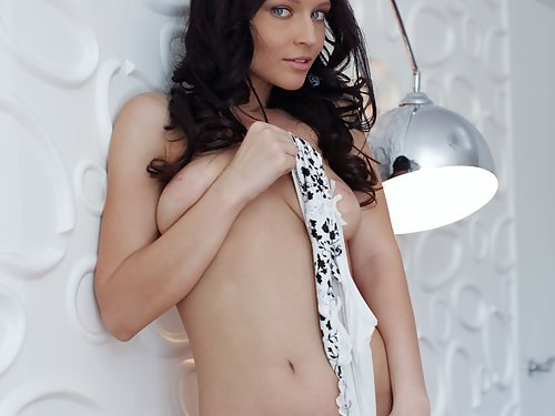 Skinny black-haired girl with large areolae