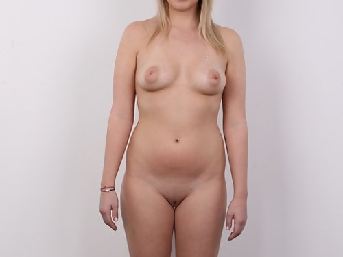 Casting pics of a blonde with big areolas
