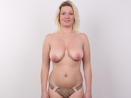 Casting pics of a chubby busty blonde with big areolas