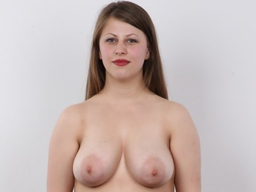Casting pics of a chubby and busty amateur with large areolas