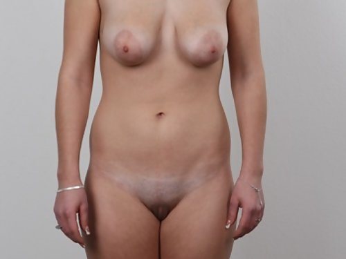 Casting pics of a busty blonde amateur with large areolas