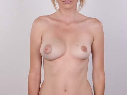 Casting pics of a freckled blonde with puffy nipples