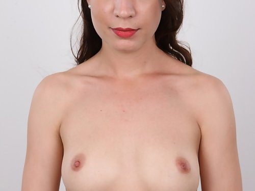 Casting pics of a shaved brunette with big pussy lips
