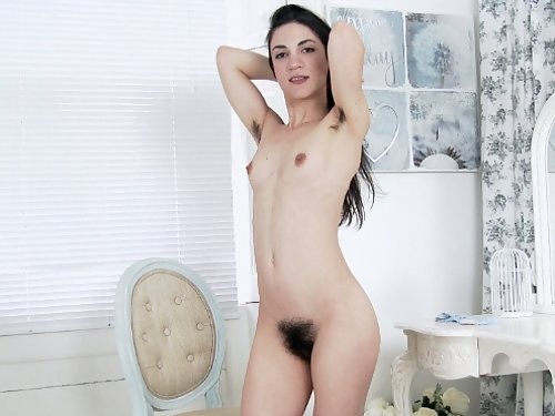 Black-haired girl plays with her monster bush