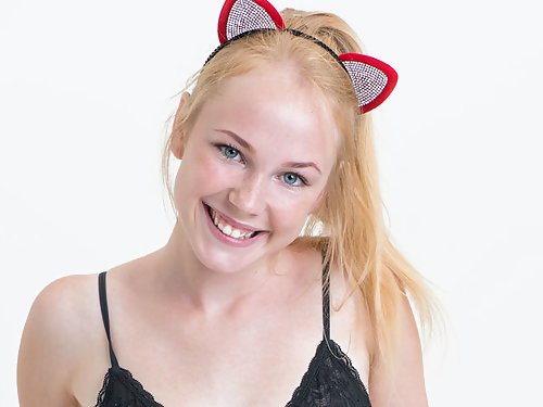 Freckled blonde teen is amazingly cute