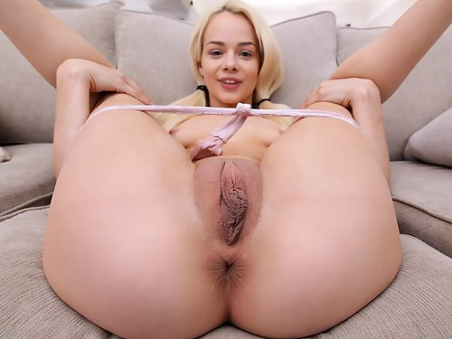 Blonde with meaty pussy lips getting fucked and filled with cum