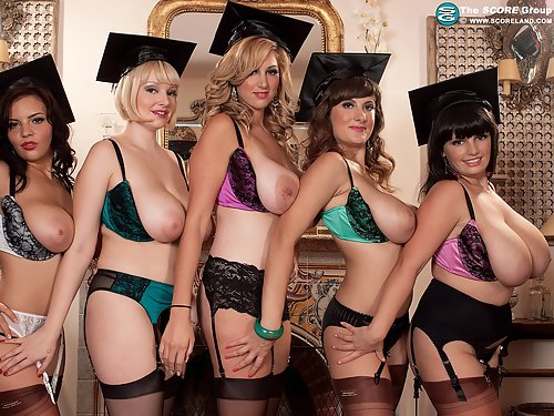 Group of busty girls with saucer nipples