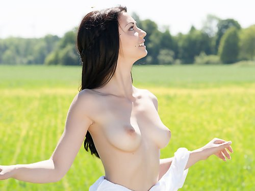 Black-haired babe nude in a field