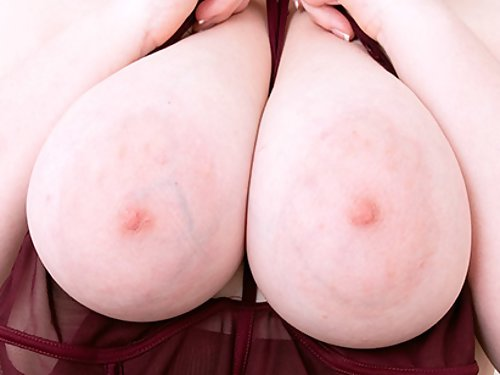 Chubby girl with huge saucer nipples toying