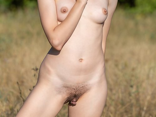 Hairy blonde with huge pussy lips takes off her dress in a field