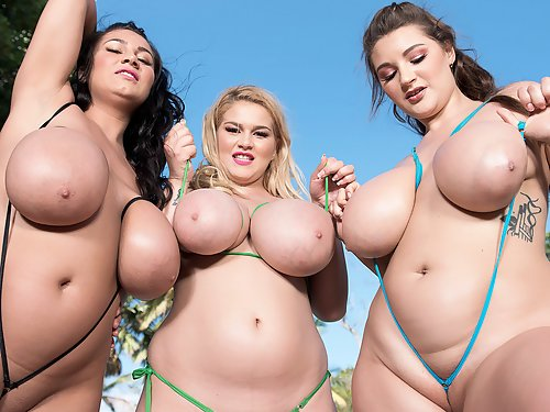 3 chubby girl showing off their big titis