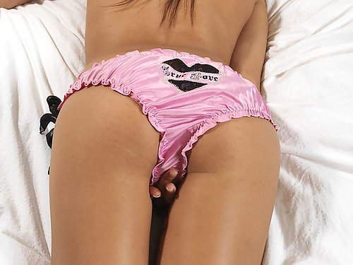 Brunette with huge pussy lips pulls her panties aside