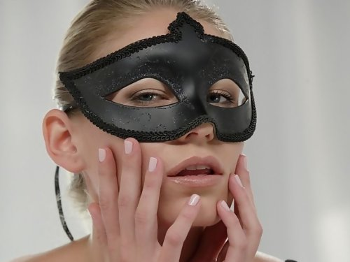 Masked blonde babe getting fucked and sprayed with cum