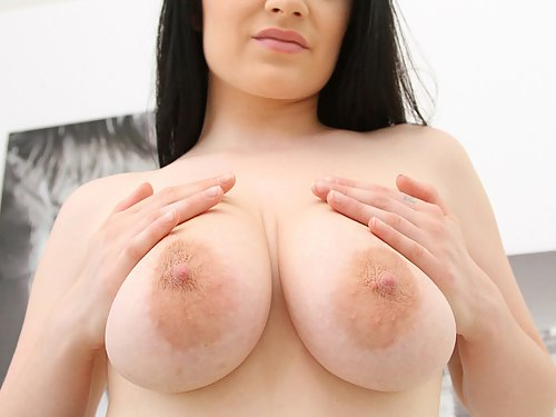 Busty chick gets all fun holes rammed by four hung studs