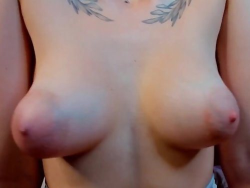 Tattooed cam girl shows off her big puffy nipples