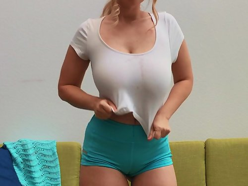 Hairy busty girl Codi Vore in a wet t-shirt