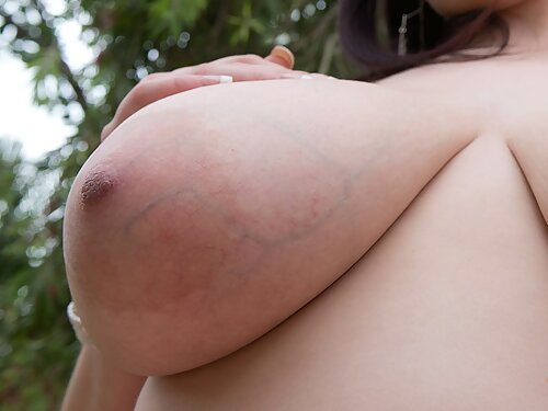 Chubby brunette with big tits spreads her ass in a thong